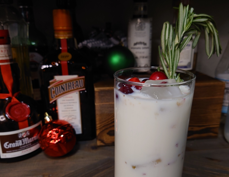 Christmas tree smash cocktail made with real milk