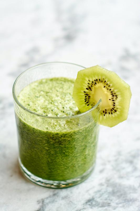 Cantaloupe kiwi smoothie made with real milk